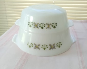 Vintage 2 Piece, FIRE KING Meadow Green Pattern Casserole Baking Dishes, Round, Ovenware, Cake Pan, 1960s era