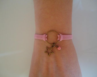Pink and bronze bracelet with charms - Gypsy chic jewelry - Bohemian style