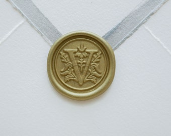Initial V letter wax seal for wedding invitations or envelopes