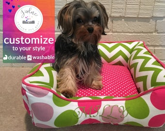 Pink Dog Bed | X-Small Dog Bed, Princess Dog Bed | Green, Pink, Chevron, Polka Dot, Colorful | Design Your Own!