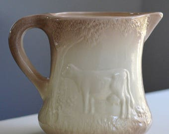 Ironstone Milk Pitcher Embossed Cow England