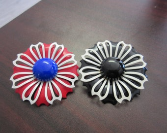 Enamel Flower Brooch Pins