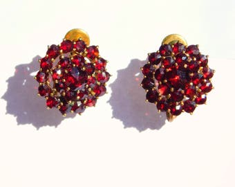 Old German Rose Cut Bohemian Garnet Cluster Earrings