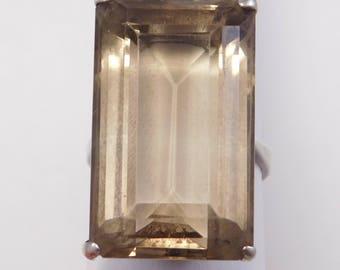 Sterling Deco Japanese Smoky Quartz Ring