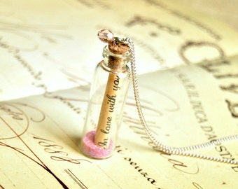 "Message in a bottle long necklace, ""In love with you"" necklace, bottle necklace, love message necklace"
