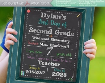 SMART Editable First Day of School Chalkboard Sign || Instant Download Digital File || Kindergarten, Preschool || Reusable! 8x10 or 16x20