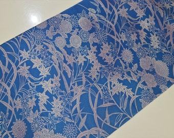 KIMONO BOLT G31 - Beautiful Blue Chrysanthemums & Autumn Leaf 11 meters long