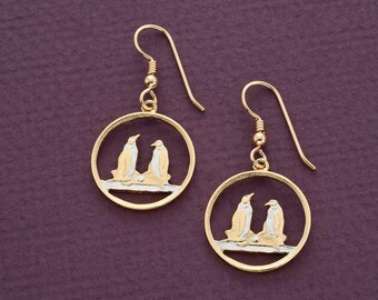 """Penguin Earrings, Falkland Island One Penny Penguin Coin Hand Cut, 14 Karat Gold and Rhodium plated, 5/8"""" in Diameter, ( # 99E )"""