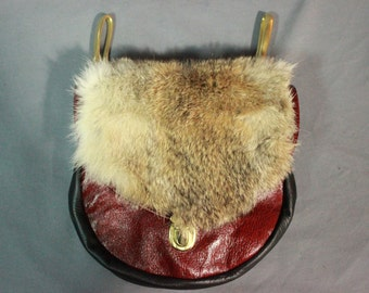 Colored Leather and fur Sporan
