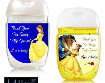 Beauty and The Beast [inspired] Hand Sanitizer labels birthday party favors-- Peel and stick labels- Free Shipping!