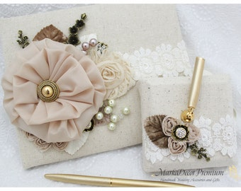 READY TO SHIP Wedding Lace Guest Book Custom Bridal Flower Brooch Guest Books in Tan, Champagne and Ivory