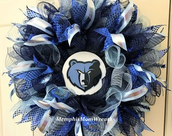 Memphis Grizzlies Deco Mesh Wreath - Deco Mesh Wreath - Grizzlies Wreath