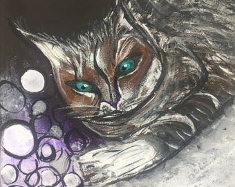 """Cat Painting Animal Portraits Pet Paintings Fine Art Canvas Art Home Decor Buy Original Paintings Acrylic Painting 8""""x8"""" Free Shipping"""