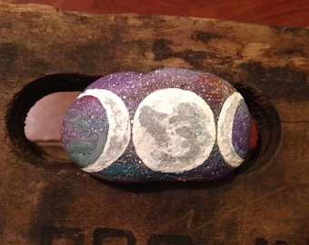 Painted Rock Mystical MOON Phases Design PAPERWEIGHT