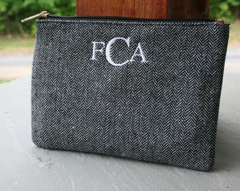 Personalized Cosmetic Bag Gray Herringbone Monogrammed Makeup Case