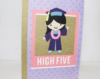 High Five Graduate - Graduation Card - Congratulations Card - Glitter Card