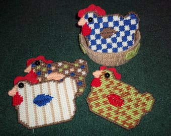 Plastic Canvas Coasters - Chicken Coasters In A Basket - Chicken Coaster Gift Set - Plastic Canvas Chickens In A Basket Gift Set - Gift Idea