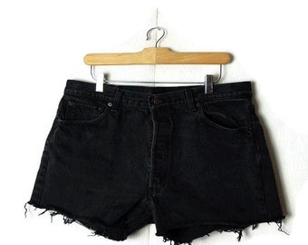 Vintage  LEVI'S 501  Black  Denim Cut off Shorts from 80's/W26*