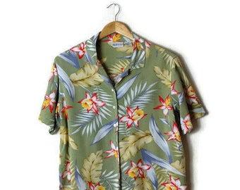 Vintage Pale Green Hawaiian Slouchy Blouse from 90's/Hawaiian Shirt*