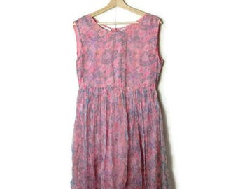 Vintage Pale Pink x Floral Sleeveless Rayon Sun  Dress from 1980's*