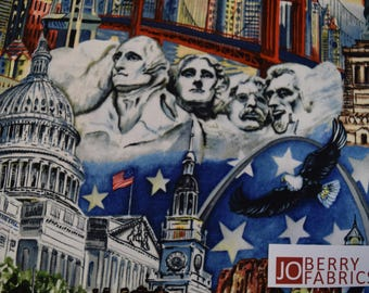 USA Landmarks from the USA All The Way Collection by Camilla Cates for Blank Quilting. Quilt or Craft Fabric, Fabric by the Yard.