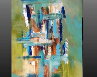 Abstract Painting Original Acrylic Painting on Canvas  Colorful Wall Decor Wall Hanging Wall Art 24x48 Art decor by jillsfineart