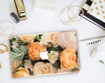 Platinum Edition Vintage Floral Bouquet with w/Rose Gold Edge Hybrid Hard Case for Apple Mac Air & Mac Retina , New Macbook 2016
