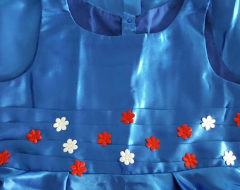 blue Handmade Girls dress 5-6 years