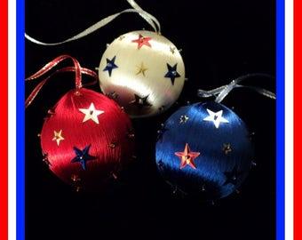 Patriotic Ornament - Star-Spangled (Set of 3)