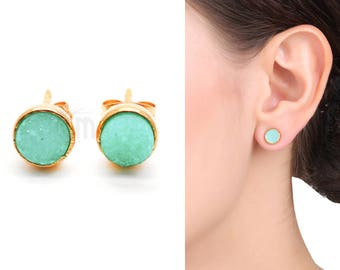 Green Druzy Studs, 6mm Round Shape Gold Plated Post Setting Druzy Earring 1 Pair (ZG-90021)