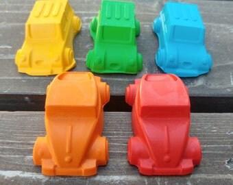 Car Crayons set of 5 - Car Party Favors - Shaped Crayons