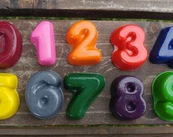 Number crayons set of 10 - party favor - stocking stuffer - recycled crayons