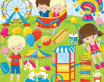 80% OFF SALE Amusement Part clipart commercial use, Fun Carnival vector graphics, digital clip art, digital images - CL866