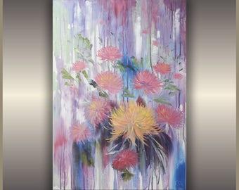 """ORIGINAL Oil Painting  Chrysanthemums by Tamara Shturba   Size: 30""""x20"""""""
