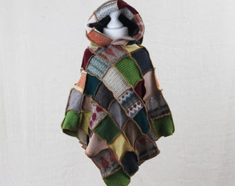 Upcycled Kid's Patchwork Poncho. Pixie Hood. Recycled Wool Knitwear. Earthy Country Colours. Handmade in UK. OOAK. Ethical Kids Clothing