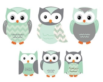 Owl Wall Decal, Owl Wall Stickers, Owl stickers, Nursery Wall Decal, Gender Neutral, Mint and Grey Design
