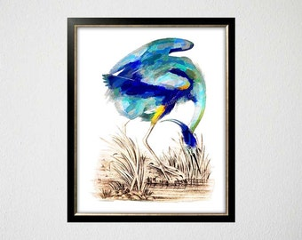 Blue Heron Poster, Blue Heron Decor, Tropical Art Print, Chinoiserie Wall Art, Blue Heron, Crane Painting, Blue Heron Art, Ornithology Print