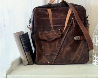 Brown leather bag, 15 inch laptop bag, office bag, school bag, student's bag, handmade bag, custom bag, leather bag