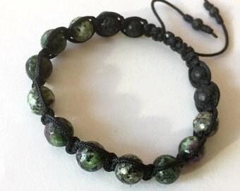 Ruby Zoisite Shamballa Bracelet (GESHA-0064)