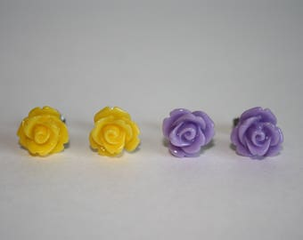 I Am Worthy Set of Light Purple and Bright Yellow 10mm Resin Rose Stud Earrings with Surgical Stainless Steel Posts and Backs