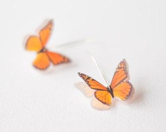 Orange Monarch Butterfly Earrings, Monarch Butterfly, Butterfly Jewelry