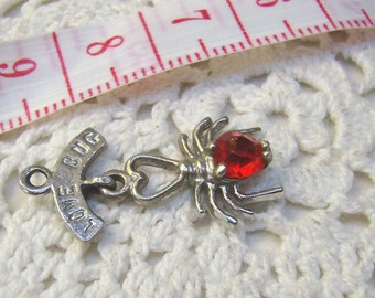 """Summer Sale...Vintage Sterling Silver """"LOVE BUG"""" Charm...July Love Bug Pendant...Mechanical Dangle Charm...Ruby Insect Charm"""