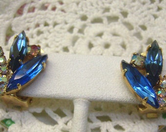 Summer sale...Vintage Blue Rhinestone Clip Earrings...Navette Rhinestones...Aurora Borealis...Sherman Style