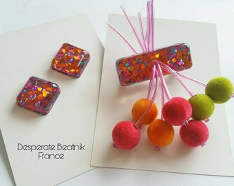 Confetti lucite cherry brooch - Handmade by Desperate Beatnik - Mexicali collection