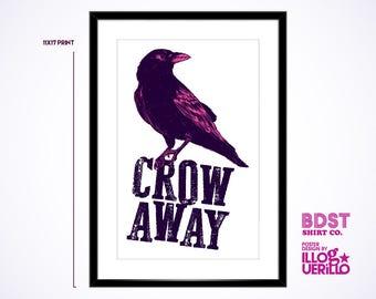 Crow Away Decorative Pun Print // Blackbird Bedroom Poster Art // Unique Wall Decor Design