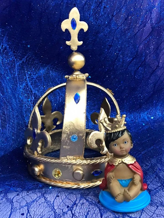 Ethnic Baby Prince With Gold Crown Baby Shower 1st Birthday