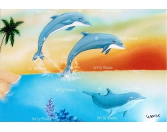 Dolphin, Dolphin Art, Jumping Dolphins, Dolphin Painting, Dolphin Gifts, Dolphin Picture, Seascape, Ocean Sunset, Free Shipping!