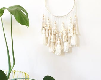 Large wall hanging, neutral dreamcatcher, boho wall hanging, boho dream catcher, tassel mobile, large dreamcatcher, boho nursery decor