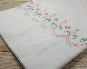 One Pillowcase, embroidered edge vintage bedding
