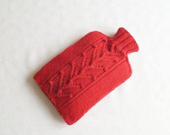 Knitted Hot Water Bottle Cover / Cosy  Red - PINNER
